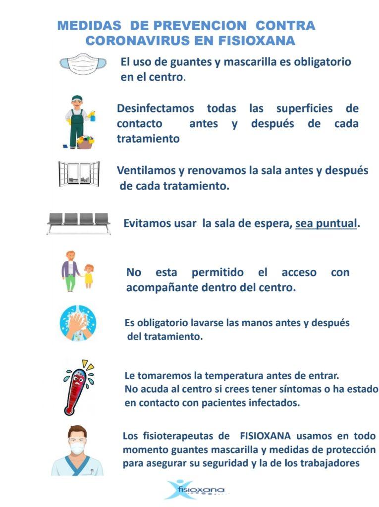Medidas de prevención contra coronavirus